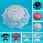 "30"" Handmade Cotton Lace Parasol & Hand Fan Bridal Wedding Umbrella - 5 Colors"