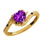 0.76 Ct Heart Shape Purple Amethyst and Diamond Gold Plated Silver Ring