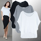 AnnaKastle New Womens Scoop Neck Soft Jersey Cropped Cocoon Top Size SM