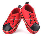 Baby Boy Girl Red & Black Soft Sole Shoes Sneaker Size Newborn to 18 Months