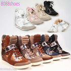 Women's Fashion Sporty Velcro High Top Hidden Wedge Sneaker Shoes All Size 6-11