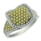 2.00 Ct Stunning Round Yellow and White Cubic Zirconia CZ Sterling Silver Ring
