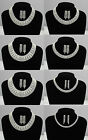 MULTI ROW SILVER PLATED CRYSTAL CHOKER & EARRING SET BRIDAL/WEDDING