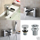 OZONE WATERFALL BATHROOM TAP SET BASIN MONO, BATH FILLER, SHOWER MIXER & WASTE