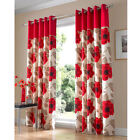 Harper Red Floral Ashley Wilde Eyelet Cotton Ready Made Fully Lined Curtains
