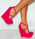 LADIES STRAPPY WEDGES SANDALS PLATFORMS HIGH HEELS COURT SHOES FAUX SUEDE BRIGHT