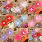 100pcs Mixed Colour Satin Ribbon Flowers With Beads Appliques AF7577 34x35MM HOT
