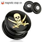 Pair (2) Black Acrylic Pirate Skull Magnetic Snap-On Ear Plugs Tunnels Gauges