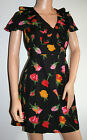 159.MA Black with Roses Summer Dress New UK Sizes 8 & 10