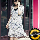White Mod Flower Chiffon Print Summer Dress 1X-2X