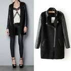 L912 Hot Women's Casual Fashion PU Leather Sleeves Stand-up Collar Coat Jacket