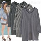 AnnaKastle New Womens Long Sleeves Onseam Pocket Stripe Hooded Tunic Top S - M