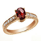 1.02 Ct Oval Checkerboard Red Garnet White Sapphire 14K Rose Gold Ring