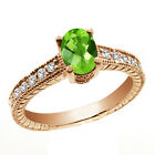 1.22 Ct Oval Checkerboard Green Peridot White Sapphire 14K Rose Gold Ring