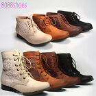 Women's Crochet Side Lace Low Heel Combat Mid Calf  Ankle Boots Shoes NEW