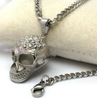 Mens Boys 316L Stainless Steel 2D Skull Necklace Cuban Curb Chain