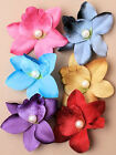 New Pearl Bead Centre Soft Touch Tropical Orchid Flower Hair Corsage Beak Clip