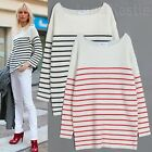 AnnaKastle New Womens Long Sleeve Striped Pullover Sweater Boxy Fit size S - M