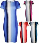 Womens New Stripe Print Ladies Short Cap Sleeve Bodycon Fit Midi Dress Plus Size