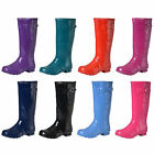 Ladies Girls Coloured Gloss Wellington Boots Fashion Festival Waterproof Wellies