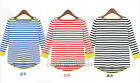 2013 New 3/4 Sleeves Striped Shirt Knitted Round Neck Blouse Tops