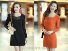 Women Lady Puff Long Sleeve Slim Zip Design V Neck Solid Color OL Career Dress