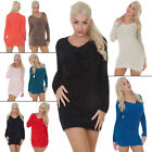 New Womens Chunky Knitted Fluffy Furry V-Neck Jumper Dress Top Size S M L XL
