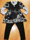 GIRLS CREAM FLOWER PRINT LAYER WINTER KNIT TOP & LEGGING age 4-14 BLACK
