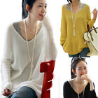 Women V-Neck Loose Oversized Batwing Knitted Sweater Long Sleeve Jumper Pullover