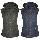 NEW LADIES WOMENS QUILTED HOODED PADDED BODYWARMER GILET JACKETS SLEEVELESS COAT