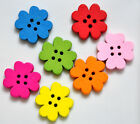 25 Wooden Flower Buttons ideal for Cardmaking Scrapbooking Choice of Colours