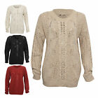 New Womens Ladies Cable Knitted Jumper Long Sleeve Holes Detail One Size 8-14