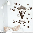 Custom Name Monogram with Tiara Vinyl Sticker Wall Art Decal Medium size