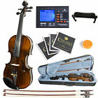 Mendini MV500 Size 4/4 3/4 or 1/2 Ebony 1pc-Back Flamed Violin +Tuner+2 Bow