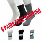 6 Pairs Men Diabetic Crew Socks For Healthy Circulation White Grey or Black