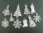 Antique Silver Christmas Charm Pendant Findings - Snowflake Snowman Tree & More