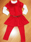 GIRLS 3 PIECE RED ROSETTE TRIM WINTER DRESS TOP & LEGGING SET with BELT