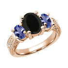 2.53 Ct Oval Black Onyx Blue Tanzanite 925 Rose Gold Plated Silver 3-Stone Ring