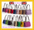 ♥ Authentic Italian Real Suede Leather Slouch Handbag TWIN 2 Handles BEST GIFT ♥