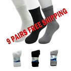Diabetic Crew Socks size 9-11 or 10-13 Buruka White Grey or Black 9 Pairs
