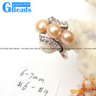 6-7mm Black White Pink Purple Pearl White Gold Plated Ring #6-#9 Sent at Random