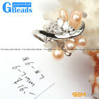 6-7mm Beautiful Pearl With Crystal White Gold Plated Ring US Size #6 - #7 GBeads