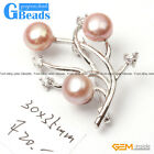 New Fashion Jewelry Freshwater Pearl Gemstone White Gold Plated Brooch 30x35mm