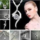 Genuine 18K White Gold CZ Crystal 925Sterling SILVER Pendant Chain Necklace+BOX