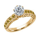 0.99 Ct Round I/J Enhanced Diamond Yellow Citrine 14K Yellow Gold Ring