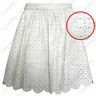 NEW LADIES WOMENS CUT-OUT DAISY PU SKATER SKIRT LEATHER LOOK FLARED MINI SKIRTS