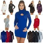 New Ladies Womens Plain Keyhole Turtle Neck Bodycon Jumper Dress Size 8 10 12 14