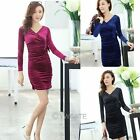 Womens V-Neck Hip Package Long Sleeve Velvet Party Clubwear Wrap Dress Bodycon
