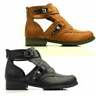 WOMENS LADIES FLAT ANKLE CUT OUT BUCKLE CLIP ZIP MILITARY SHOE BOOTS SIZE