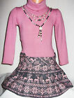 GIRLS PASTEL PINK GREY FAIR ISLE PRINT SKIRT WINTER PARTY DRESS with NECKLACE